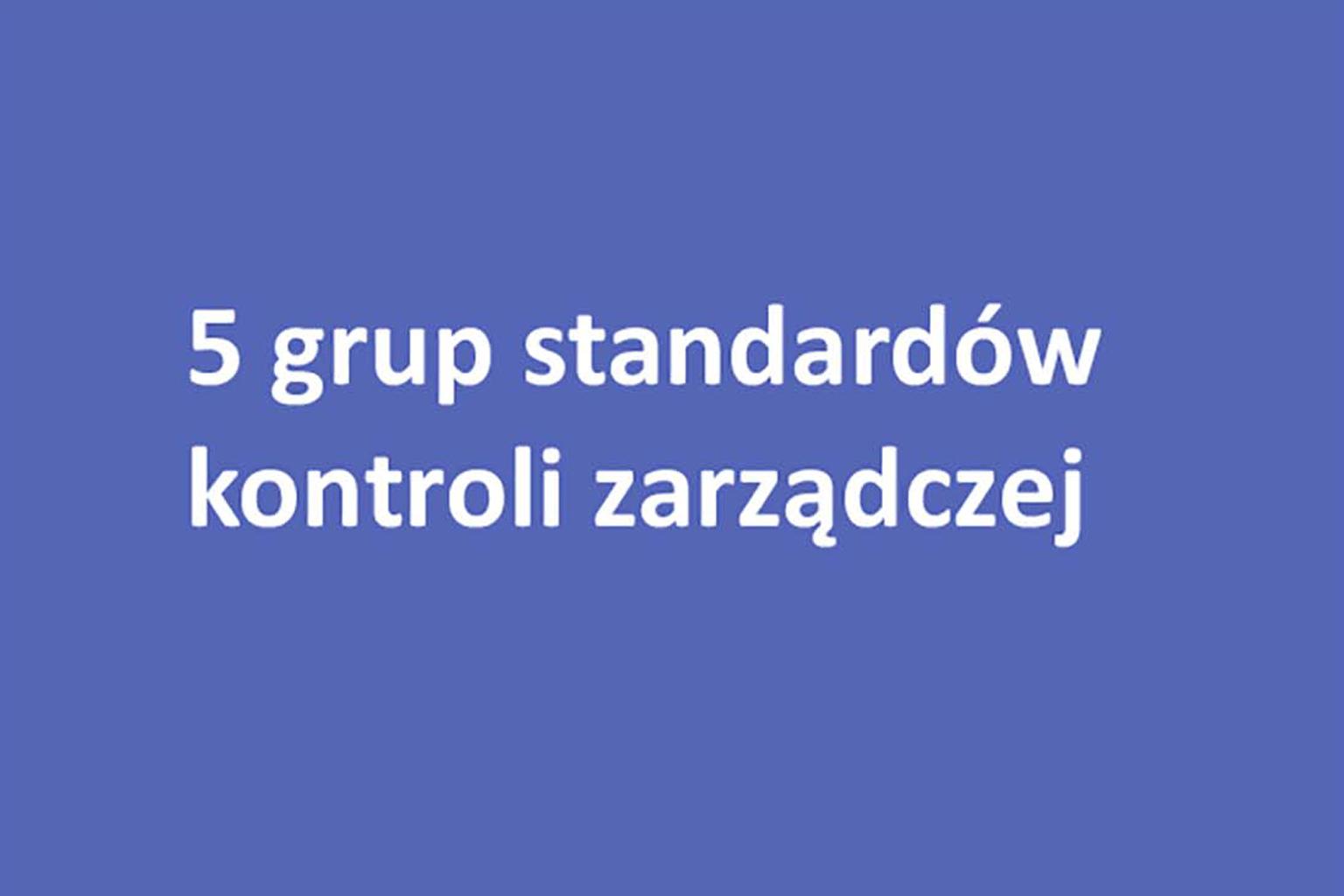 Standardy uszeregowano w 5 grupach odpowiadających poszczególnym elementom kontroli zarządczej
