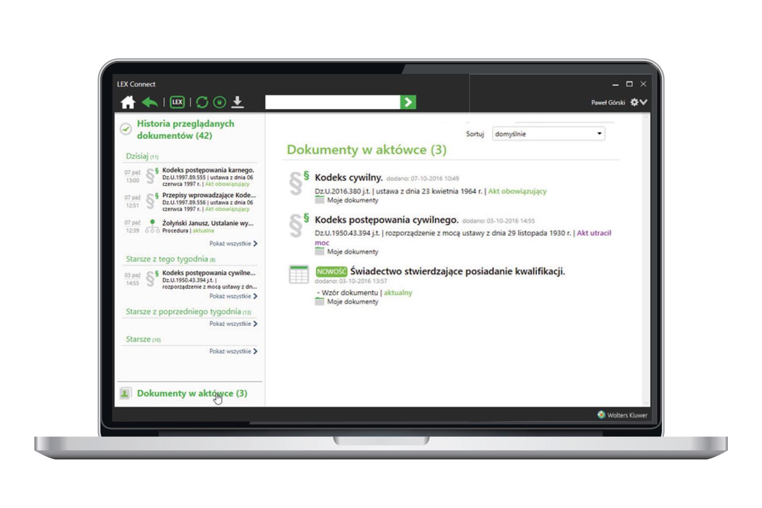 Okno narzędzia LEX Connect przedstawiające funkcję Praktyczna Aktówka