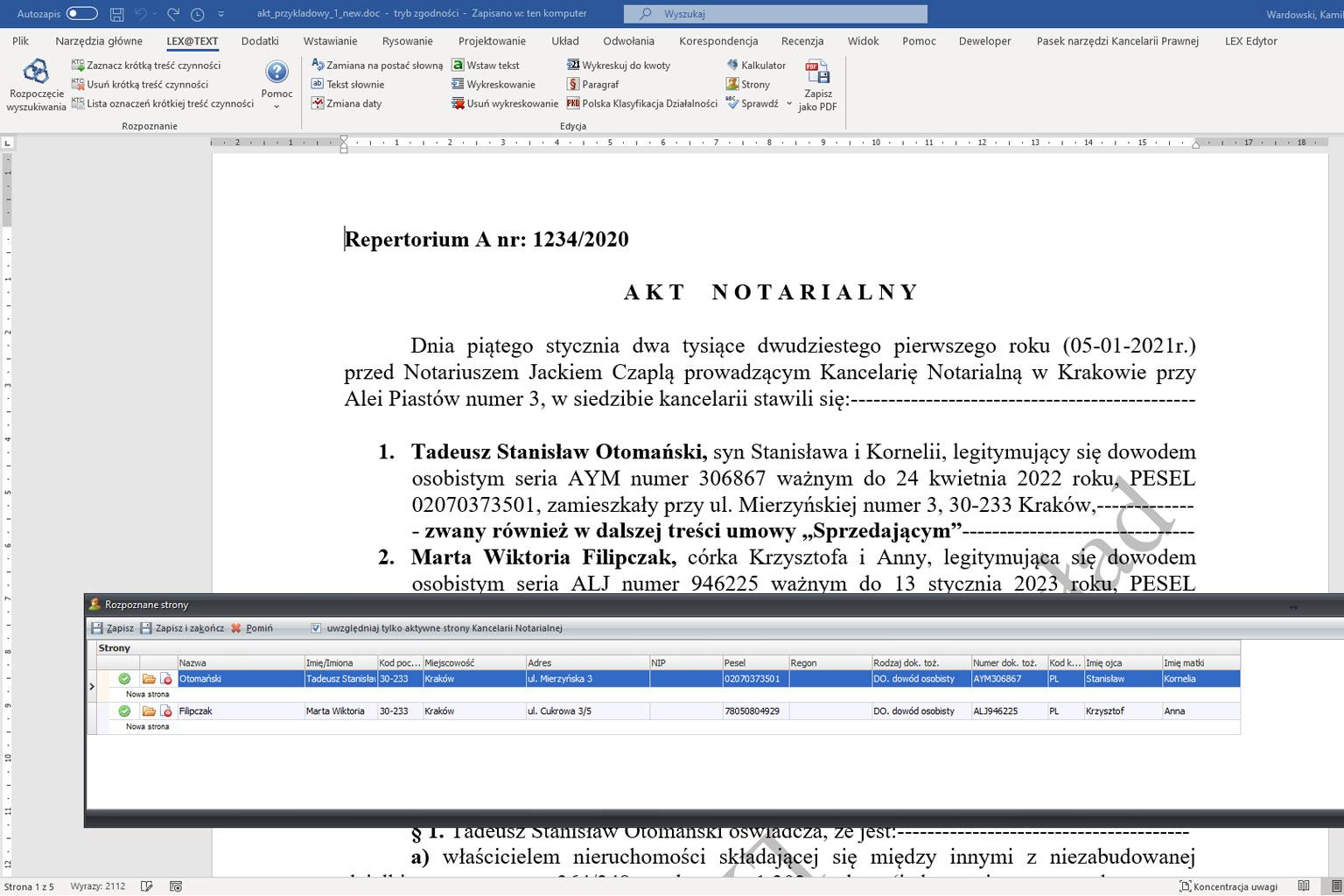 Automatyczne rozpoznawanie aktów notarialnych – LEX@Text