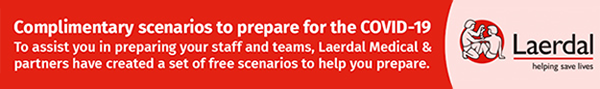 Banner ad: Complimentary scenarios to prepare for COVID-19, to assist you in preparing your staff and teams, Laerdal Medical and partners have created a set of free scenarios to help you prepare.