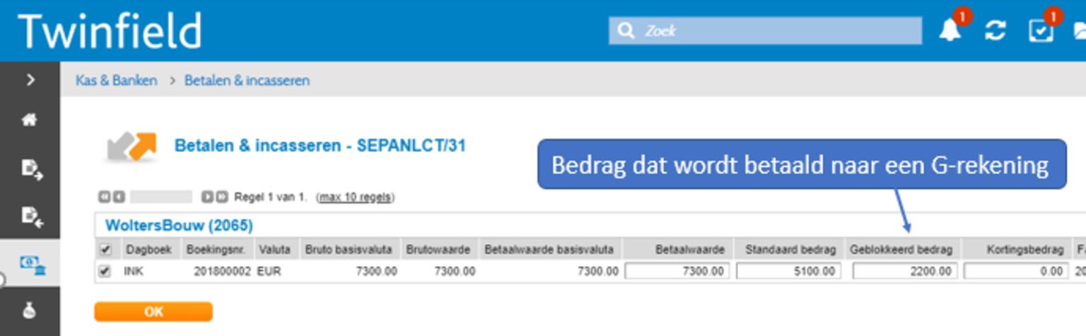Screenshot Twinfield Boekhouden Betalen en Incasseren G-rekening