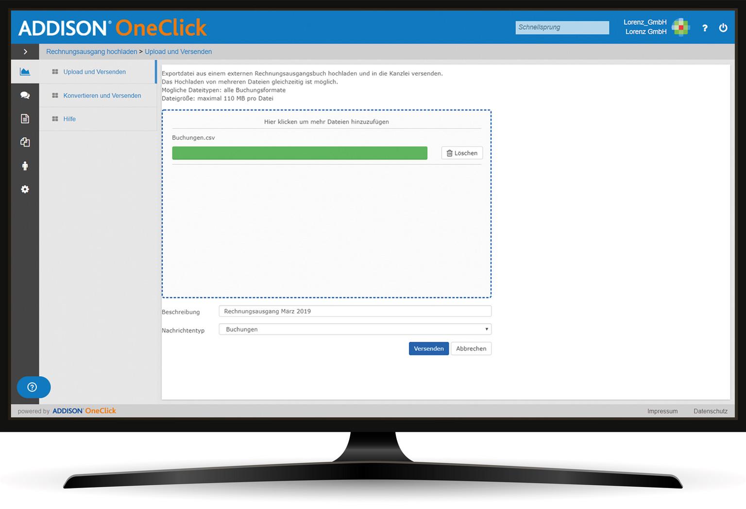 ADDISON OneClick Rechnungsausgang hochladen