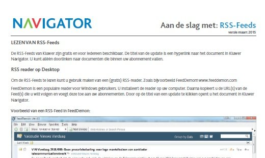 Screenshot handleiding Aan de slag met RSS feeds