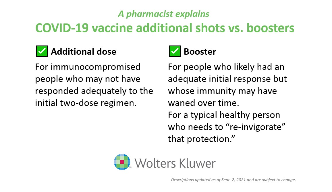 An image outlining the difference between an additional COVID-19 vaccine dose and a COVID-19 booster shot