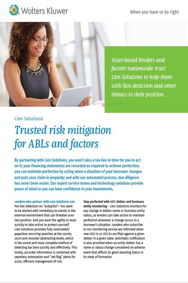 brochure cover for ABLs and Factoring companies