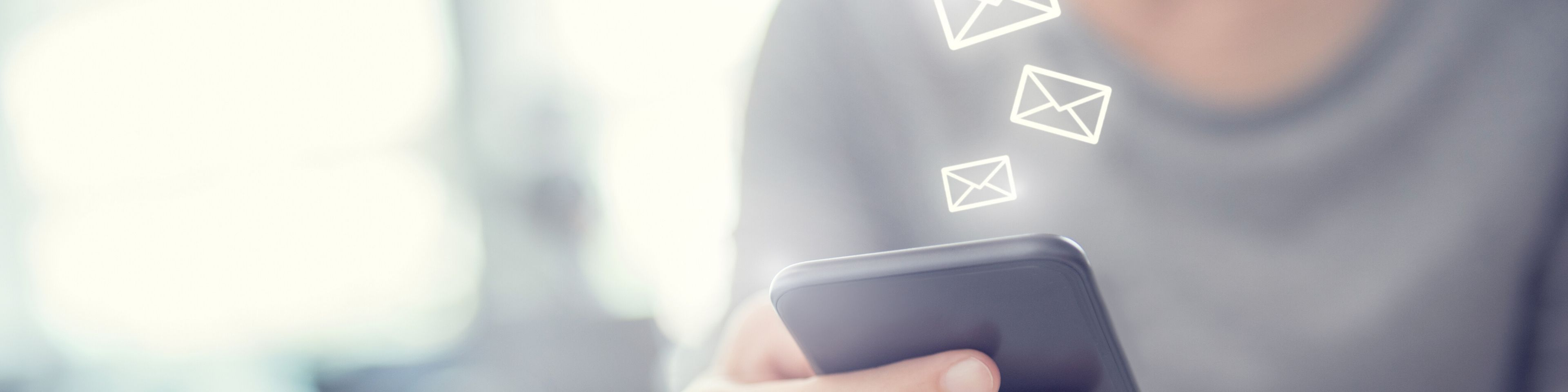 Woman hand using mobile smartphone with email