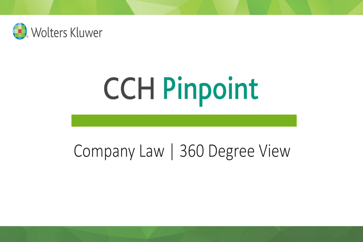 CCH Pinpoint® Company Law – 360 degree view