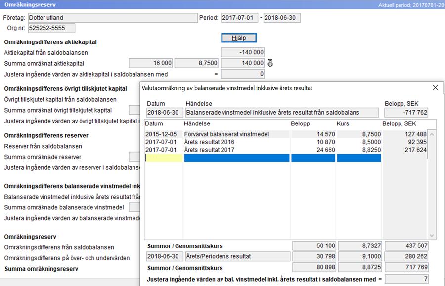 screenshot valutaomrakning omrakningsreserv