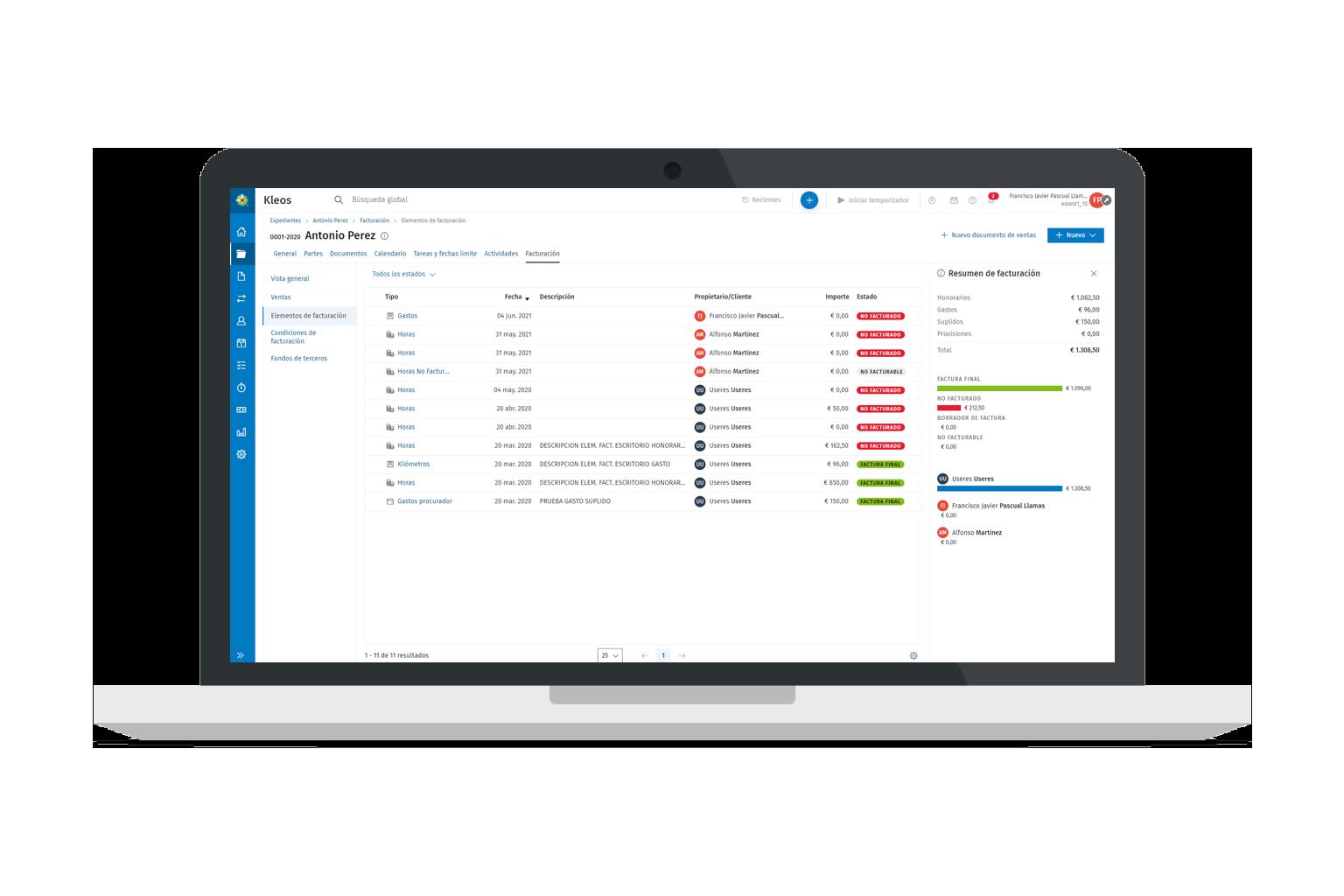 Kleos Billing Invoicing EN | Software para abogados con gestion de facturas y rendabilidad