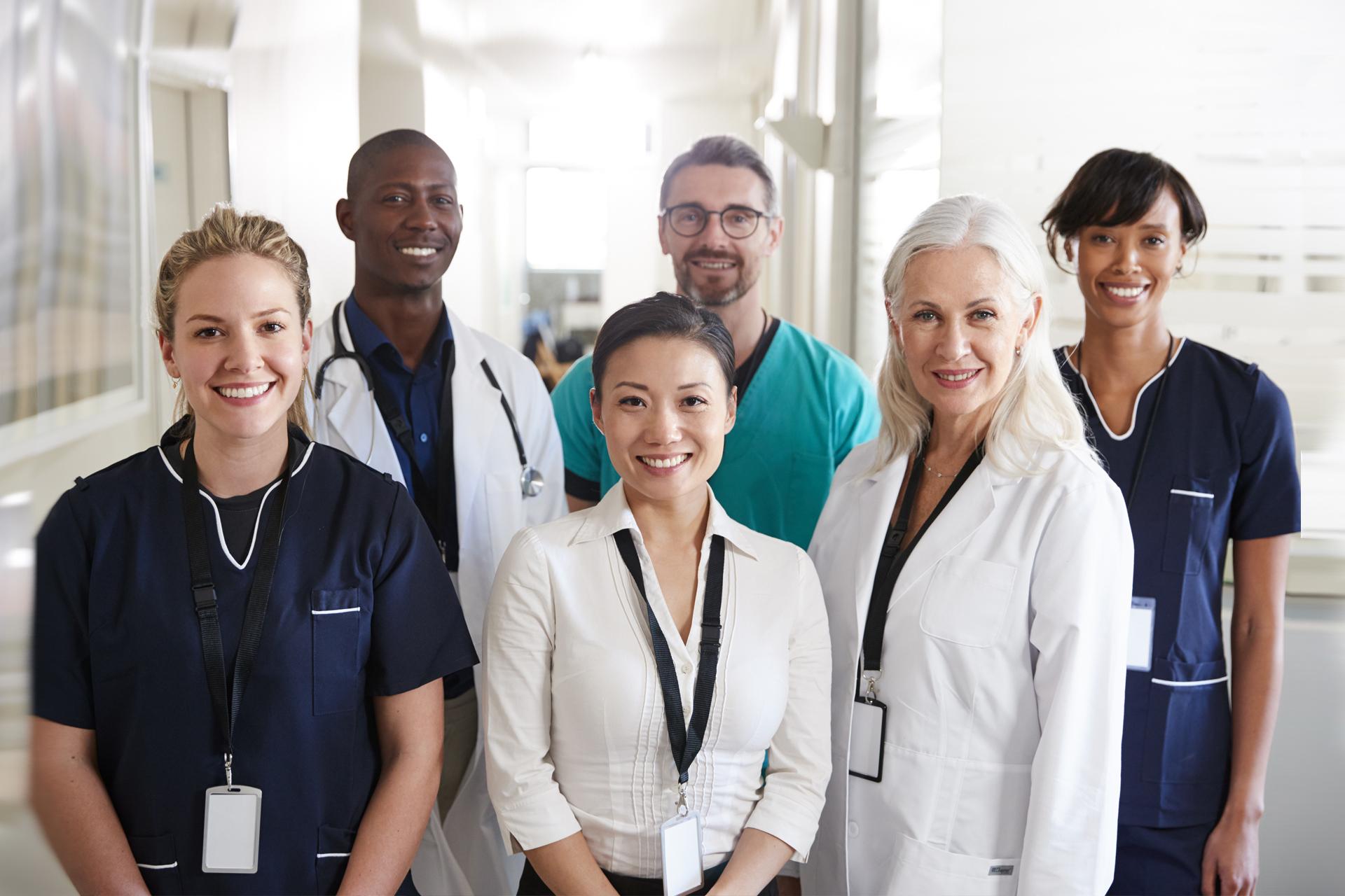 Medical team in hospital corridor