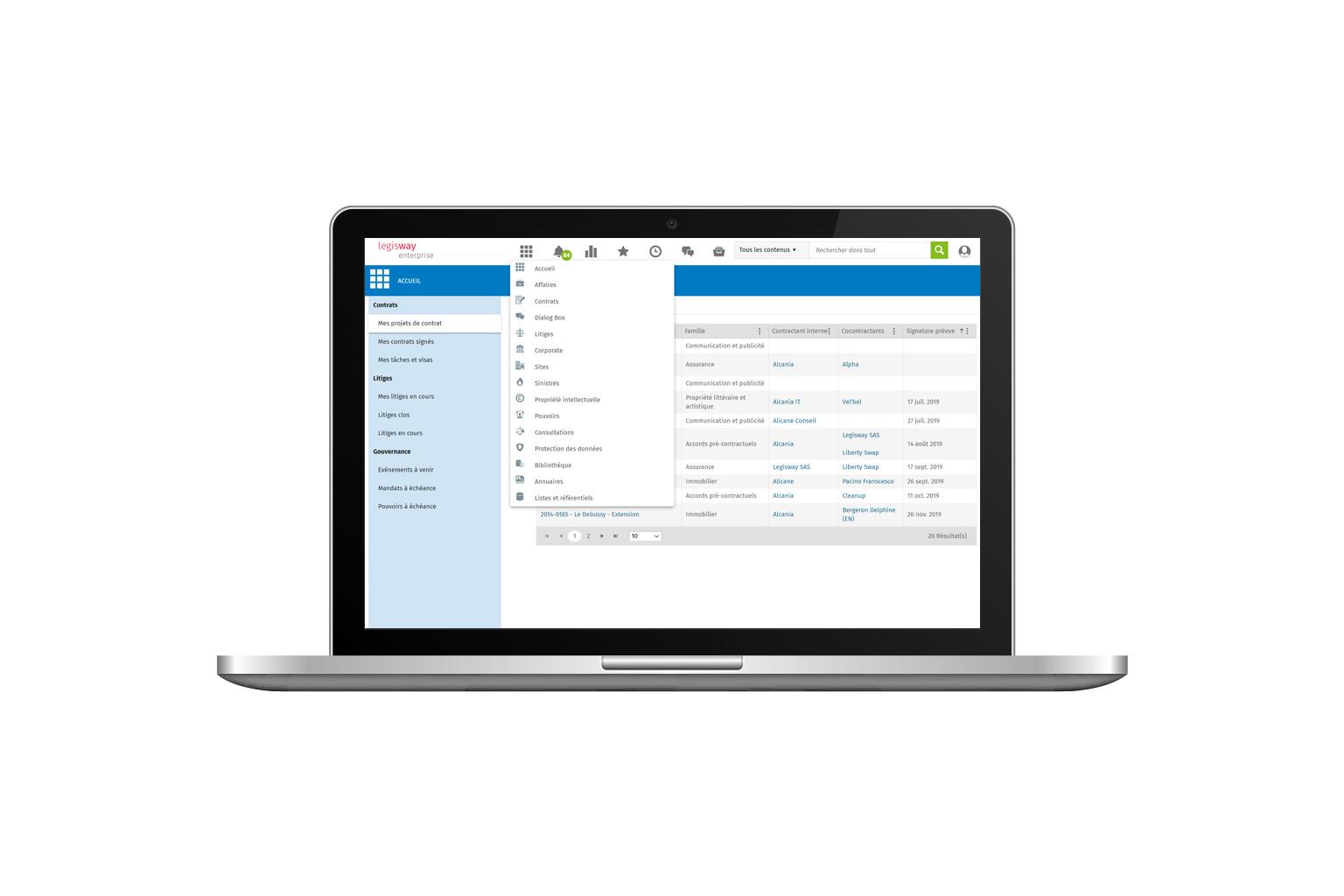 Legisway-Enterprise-Modules | Logiciel de gestion de contrat