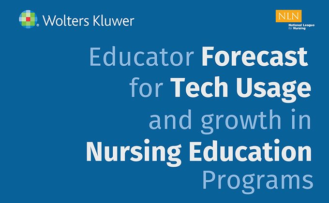 Infographic header: Educator forecast for tech usage and growth in nursing education programs