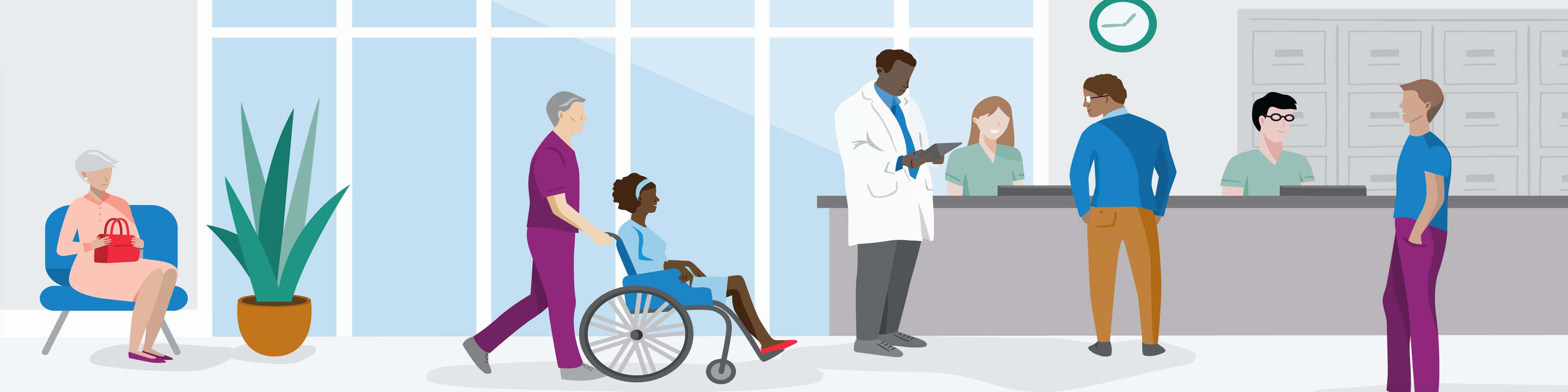 illustration of people in medical facility lobby