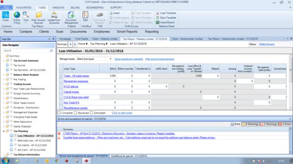 CCH Corporation Tax - Loss Planner Screenshot