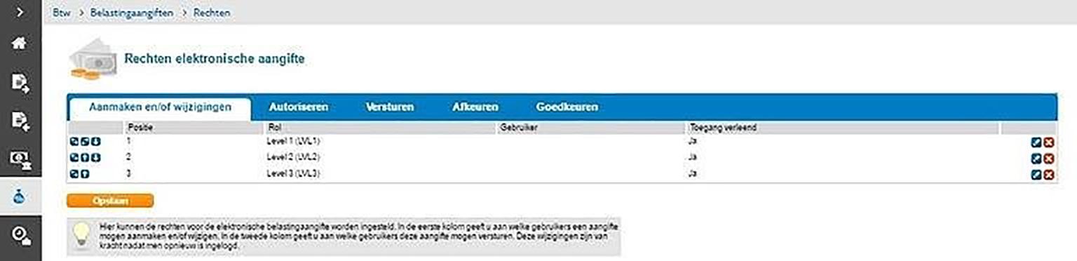 screenshot rechten btw-aangifte instellen in Twinfield