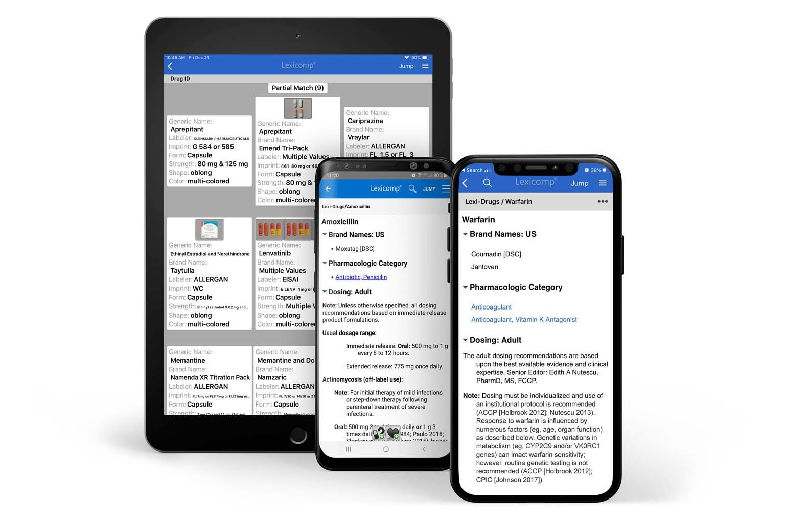 tablet and smartphones displaying Lexicomp