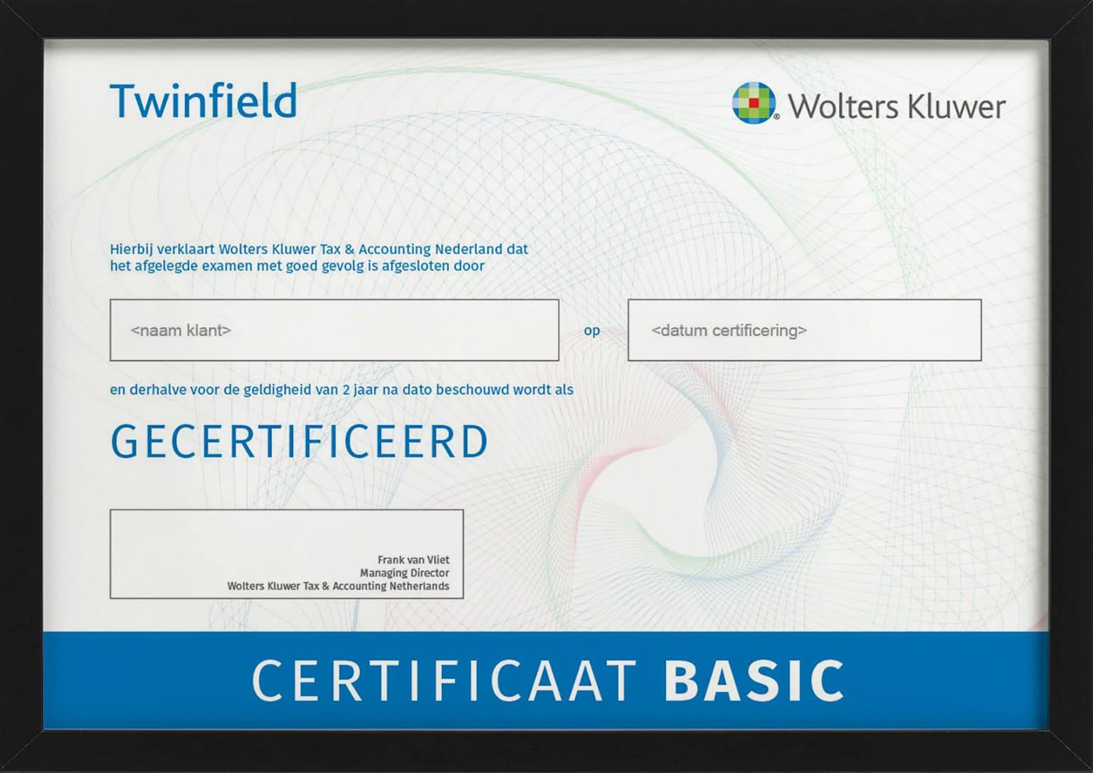 Certificaat met bewijs van deelname aan training Twinfield Boekhouden Basic