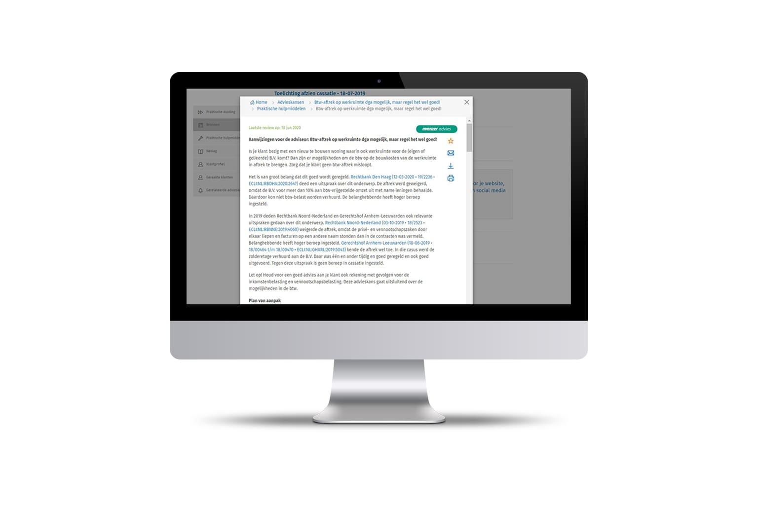 Scherm van accounting software accountants Avanzer op iMac beeldscherm