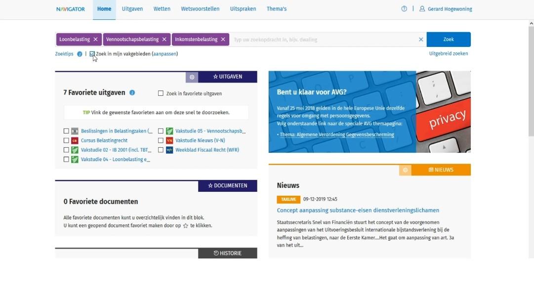 Screenshot Navigator profiel personalisatie