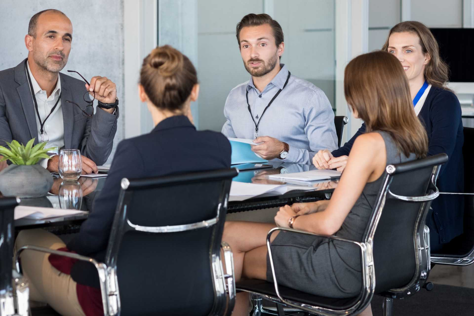 Group meets at office table