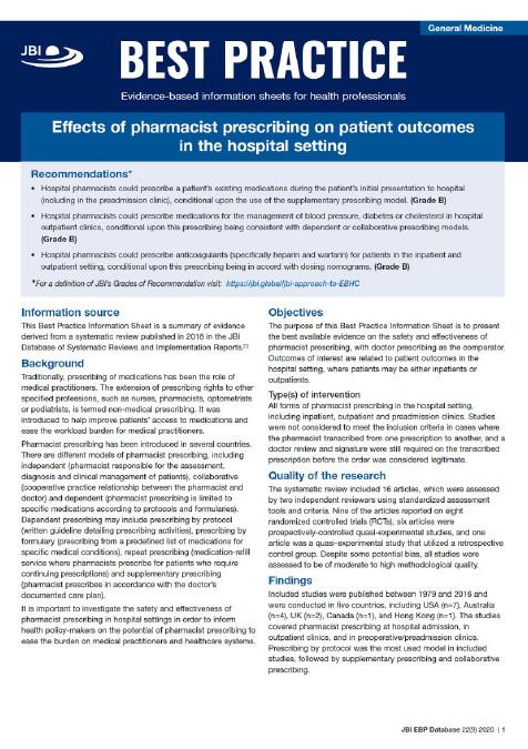 Screenshot of a JBI Best Practice Information Sheet