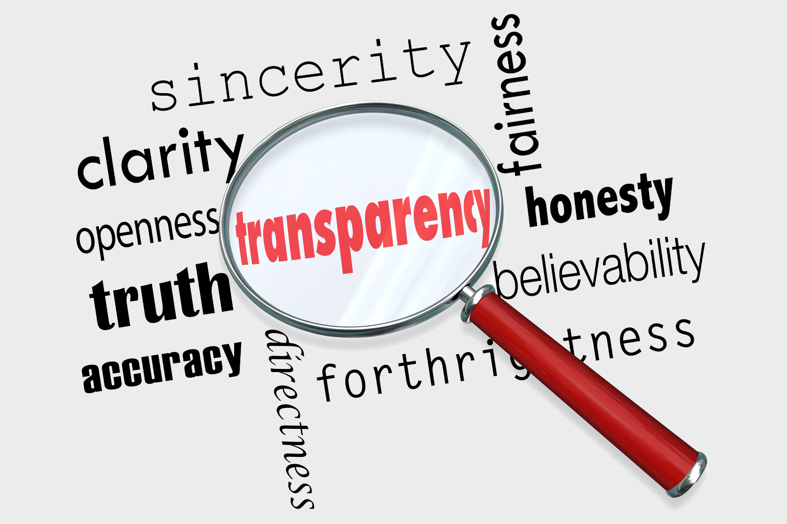Word cloud with a magnifying glass over the word transparency