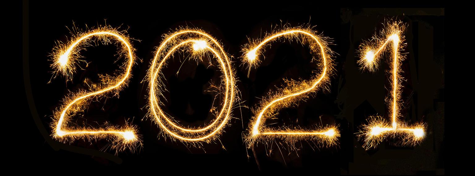 2021 written in sparkler trails