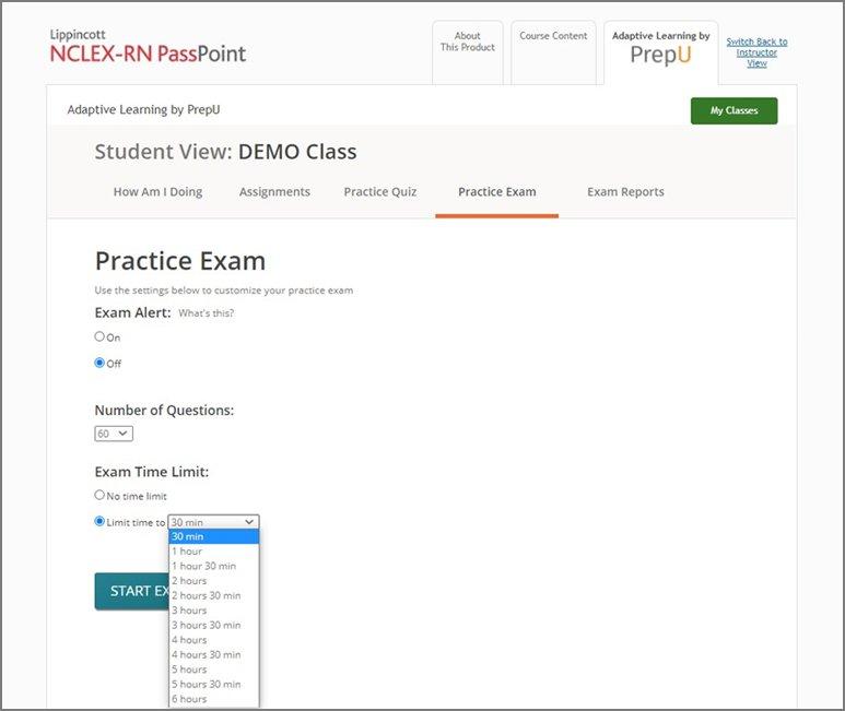 Screenshot from Lippincott PassPoint showing practice exam