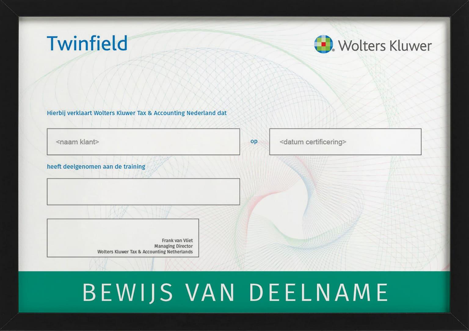 Certificaat met bewijs van deelname aan training Quickstart Boekhouden van Twinfield