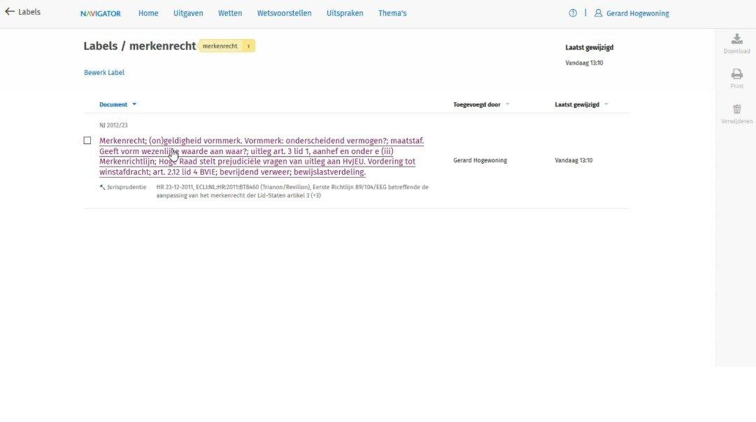Screenshot Navigator labels aanmaken