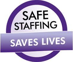 Badge that says safe staffing saves lives