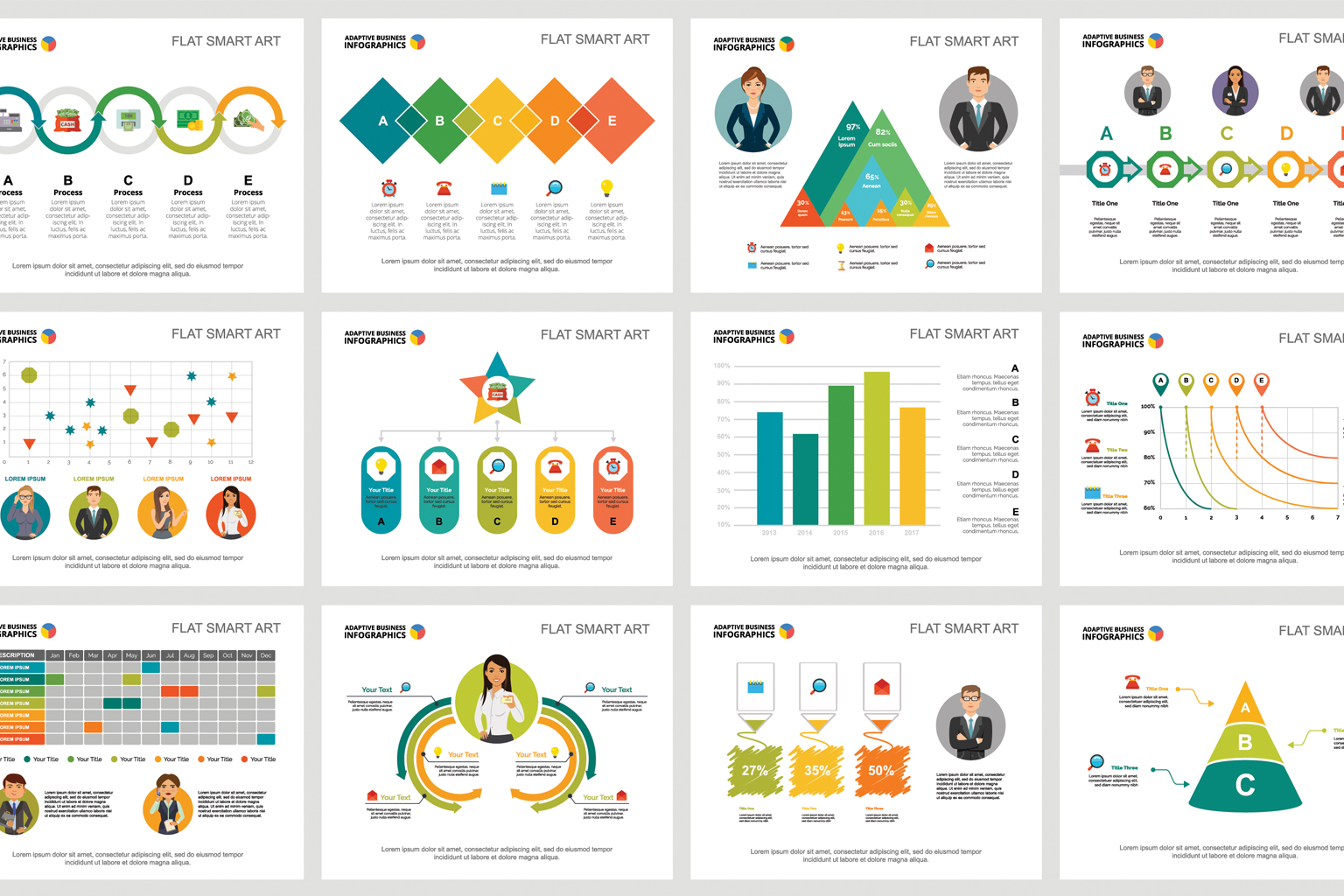 Infographic examples filled with Lorem ipsum