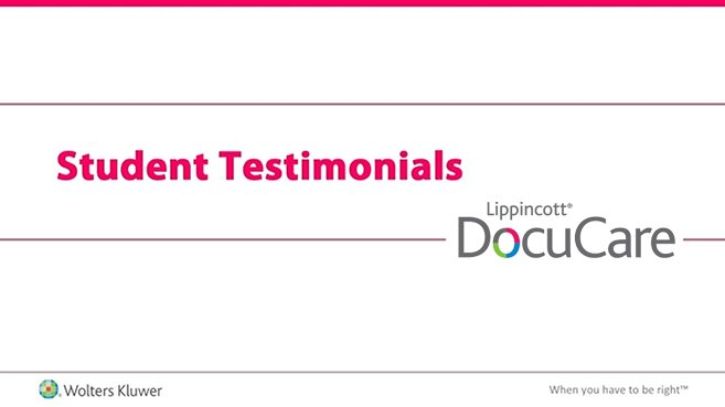 Screenshot of Student testimonials: Lippincott DocuCare video