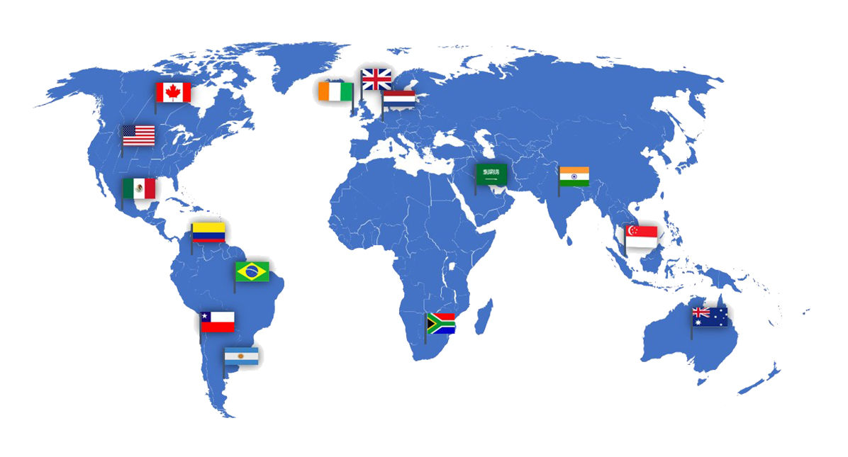 World map denoting countries that are in the UpToDate Global Partners Program