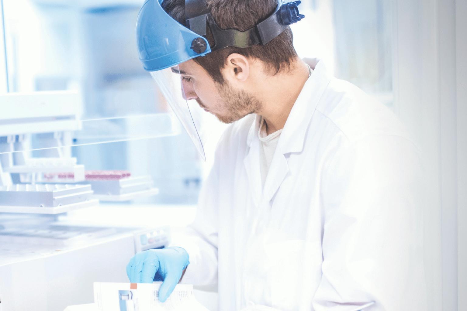 Pharmacy technician in cleanroom