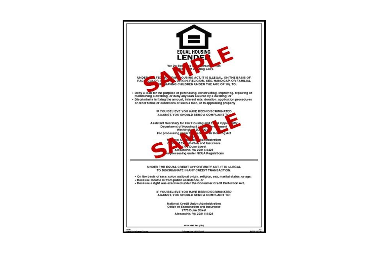 equal housing opportunity ncua