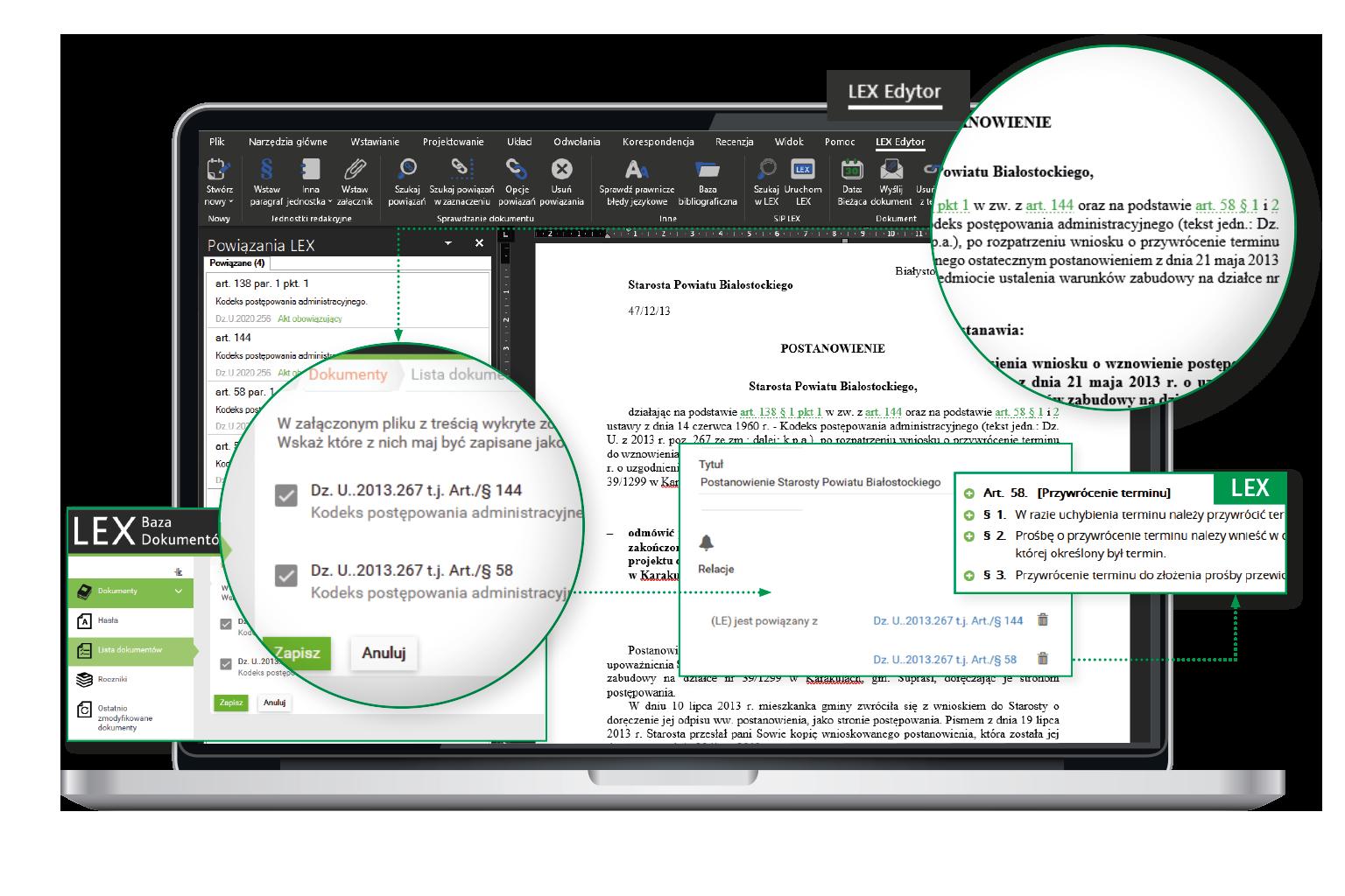 interfejs LEX Baza Dokumentów integracja z LEX Edytor