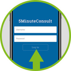Circle with arrow pointing at 5MinuteConsult app login screen on smartphone