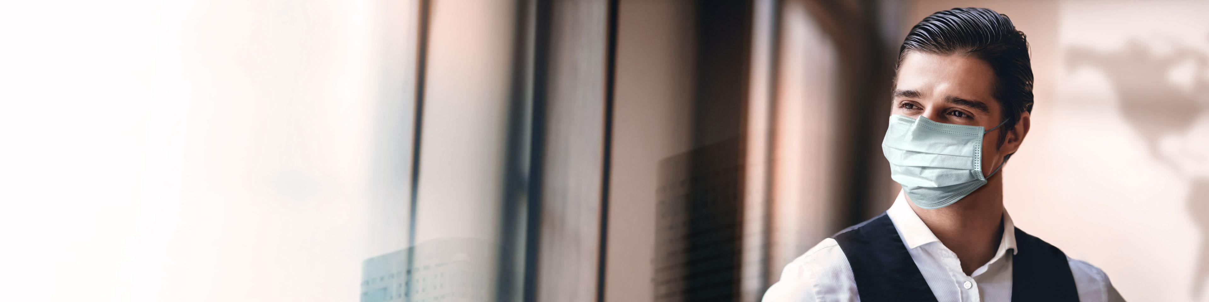 covid mask business cityscape