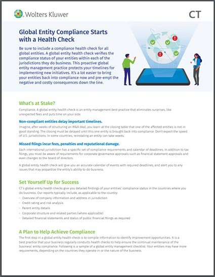 Global Entity Compliance Health Check