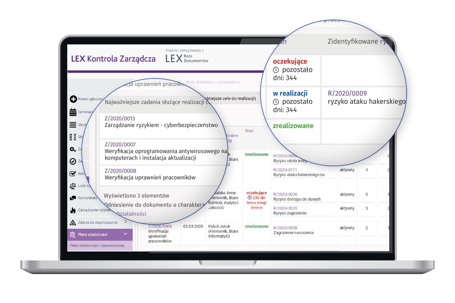 Widok programu LEX Kontrola Zarządcza przedstawiający plan działalności
