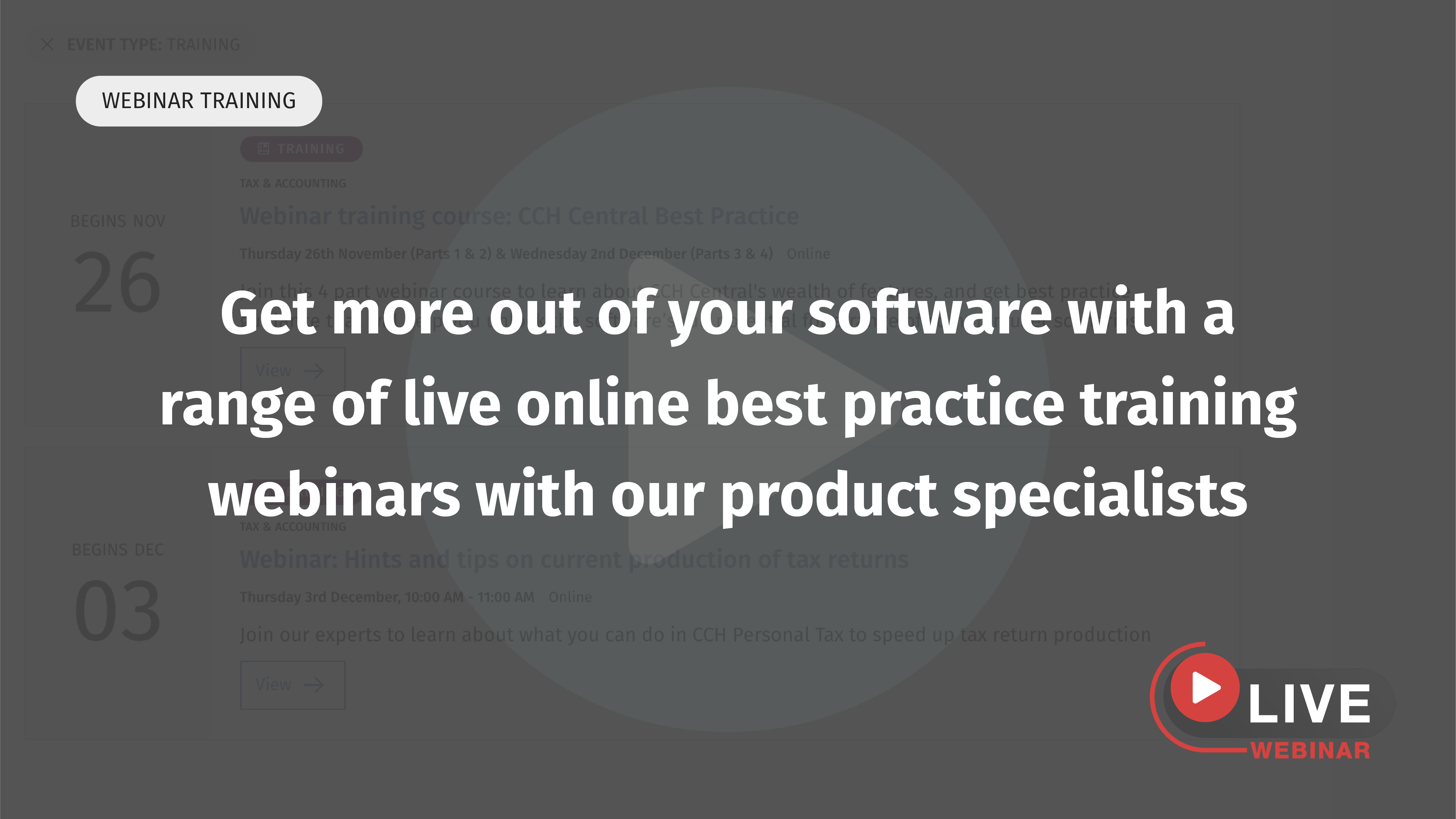 Live webinar training events
