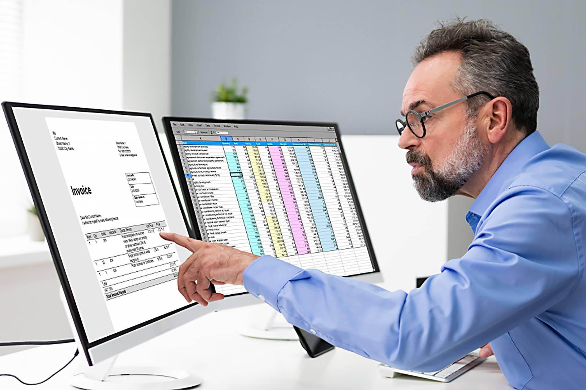 Revisor arbetar på två skärmar med Revisionsprogrammet