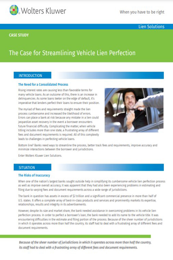 Learn more about streamlining vehicle lien perfection