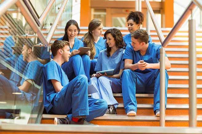 Nursing students between classes