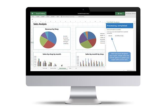 Schermafbeelding van Excel met Twinfield Analysis