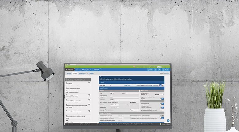 Wolters Kluwer Tax software on a Laptop