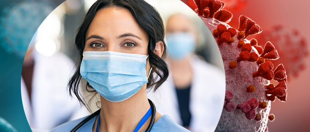 Happy nurse with face mask smiling at hospital, superimposed on illustration of SARS-CoV-2