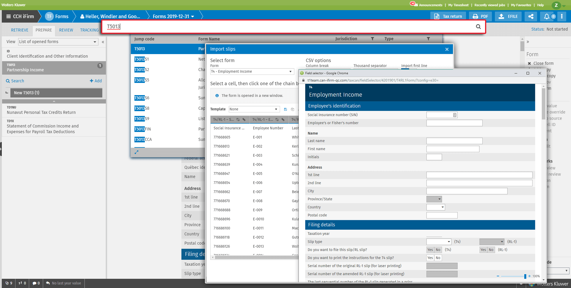 CCH iFirm Cantax Forms screenshot