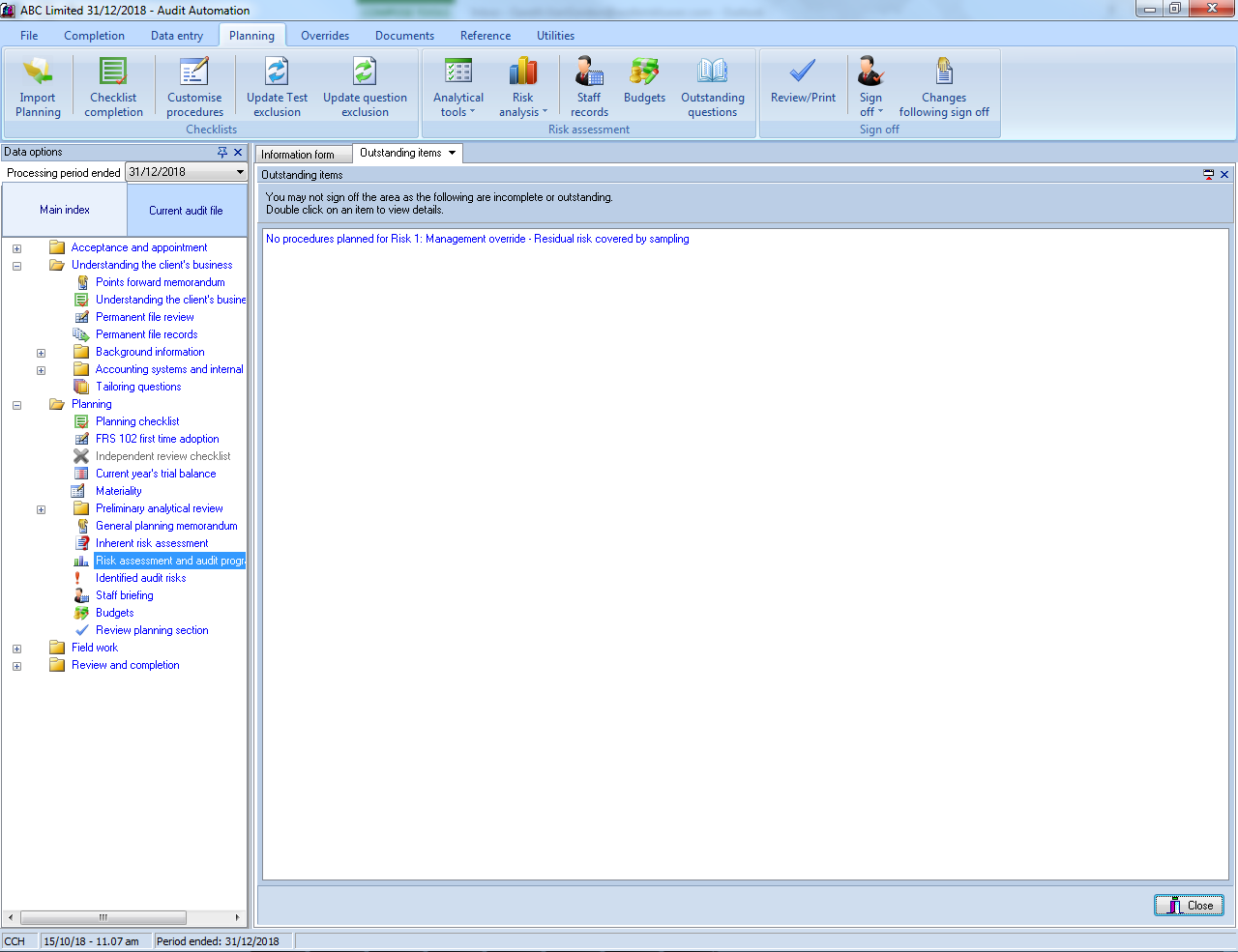 CCH Audit Automation - Planning sign off screenshot